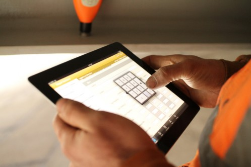 iPad on the construction job-site with TruQC