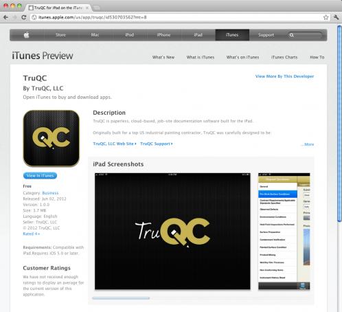 TruQC job-site documentation app in the iTunes store
