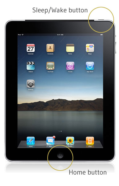 Sleep wake button on iPad for hard reset