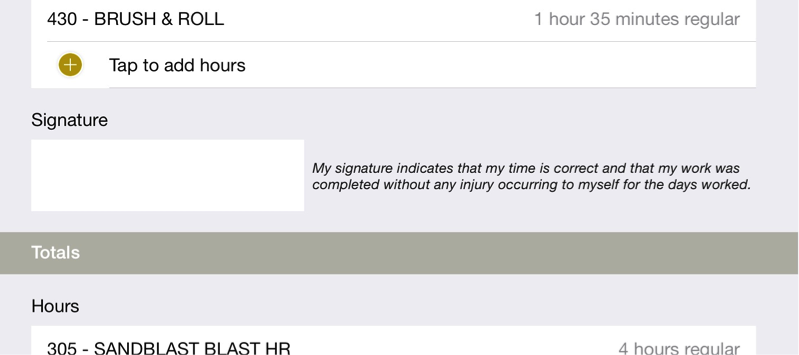 timesheet calculator signature